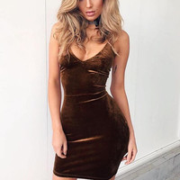 A.  Velvet Sleeveless  Bodycon Mini Dress
