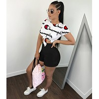 Champion Newest Fashionable Woman Sexy Print Short Sleeve Top Shorts Set Two Piece Black