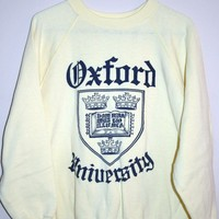 BeWorn — Vintage Pastel Yellow University of Oxford College Jumper