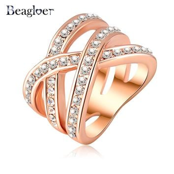 Beagloer Stylish Criss Cross Crystal Ring
