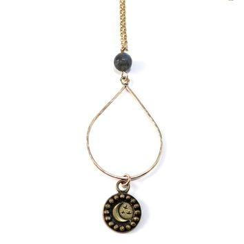 CRESCENT MOON - Teardrop Necklace - BRONZE