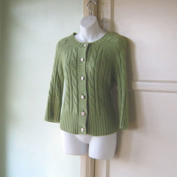 1980s Angora Blend Chunky Chartreuse Cable Cardigan; Medium - Cropped Sleeve Button Up Sweater - Chartreuse Green Cardigan; Preppy Boho