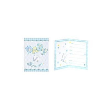 Unique Blue Stitching Baby Shower Invitations, 8Pk