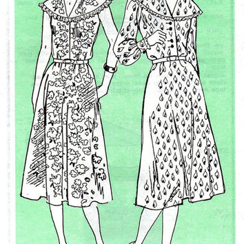 Retro Style Boho Hippie Peasant Dress Mail Order Pattern Shawl Collar Full Skirt Button Front Size 8 to 12 Bust 31 to 34