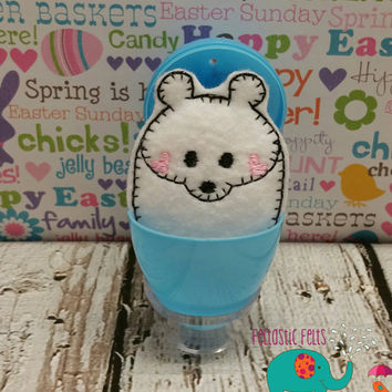 Tiny stuffed polar bear egg buddy, embroidered, party favor, stuffed animal, stuffie, travel toy, stuffed toy, embroidery, grab bag, easter