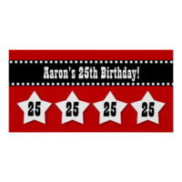25th Birthday Red Black White Stars Banner V25S Poster