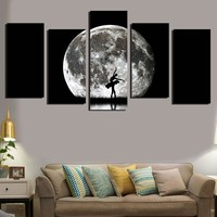 Unframed 5 Pieces Wall Art Oil Canvas Painting Printed Ballet jumping under the moon Wall Pictures for Living Room Kids Room