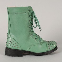 Qupid Missile-08 Studded Lace Up Military Bootie