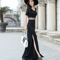 Black Sheer Mesh Fake Two Piece Maxi Split Dress