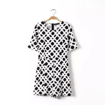 Summer Pattern Print Short Sleeve Round-neck Slim Shorts Jumpsuit [4918012228]