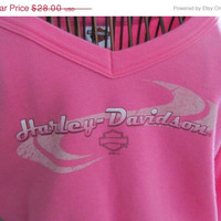 Pink Harley Davidson Long Sleeve Blouse N H Dealer Harley Shirt Biker Clothes Women sz M Harley T Shirt Long Sleeve Shirt