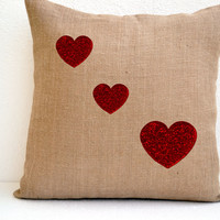 Valentine Special Burlap Pillow cover Red Sequin Heart Decorative Heart Cushion Cover