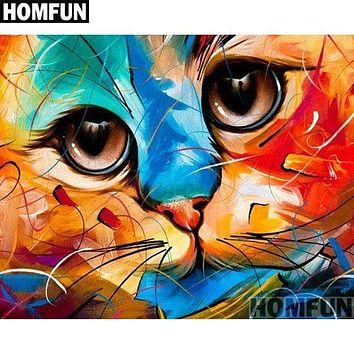 5D Diamond Painting Abstract Cat Face Closeup Kit