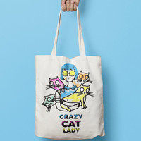 Crazy Cat Lady Tote Bag Canvas - Funny Canvas Tote Bag - Printed Tote Bag - Market Bag - Cotton Tote Bag - Large Canvas Tote - Cat Tote Bag