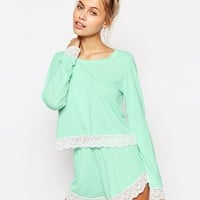 ASOS Lace Trim Long Sleeve Tee & Short Pyjama Set