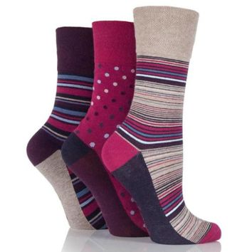 Non Binding Socks for Women in Amy Stripe