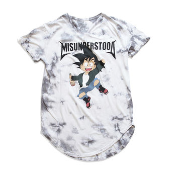 Misunderstood Goku Vintage Dye Curved Hem White Tee - Only XXL Left