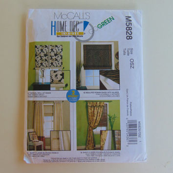 McCall's M5828 Home Deco Energy Saving Window Fashions Craft Clothes Sewing Pattern