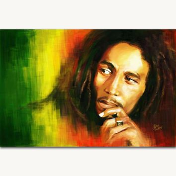 FX922 Bob Marley Classic Rock Music Singer Star Painting Custom Poster Art Silk Light Canvas Home Room Wall Printing Decor