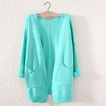 candy color women s comfortable soft green cardigan with pockets 2