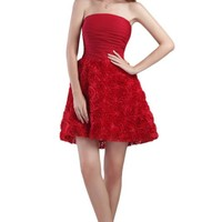 Sexy Strapless Red Flowers Mini Cocktail Dresses Elegant Short Cocktail Dress Beauty Formal Party Gowns  vestido cocktail