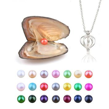 Pearl Oysters with Round 6.5-7.5 mm Love Wish Real Freshwater Pearls and Necklace Set (Chain 55cm)