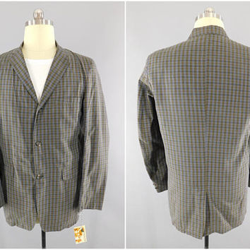 1960s Vintage / Blue & Brown Plaid Blazer / Fashion Tailored Sports Wear by Sears / Plaid Sport Coat / Narrow Lapel / Size Medium Long / 40L