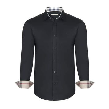 Men's Burberry Black Dress Shirt | Overstock.com Shopping - The Best Deals on Dress Shirts
