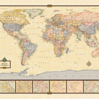 Map - World 13 Poster - 34x22