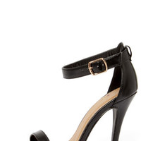 My Delicious Chacha Matte Black Single Strap High Heels