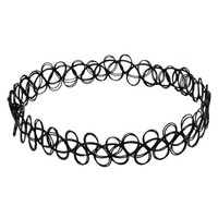 Jane Stone Choker Black Stretch Gothic Tattoo Henna Necklace (Fn1450-Black)