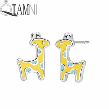 QIAMNI Colorful Enamel Lovely Animal Deer Bird Horse Rabbit Dolphin Stud Earrings for Women Lover Gift Brincos Boucle D'oreille