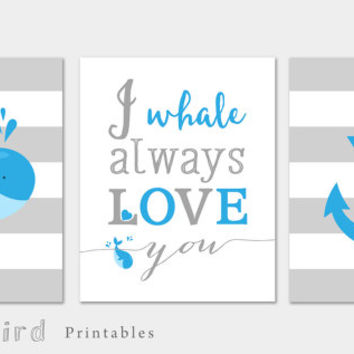 Whale art PRINTABLE, baby boy nursery set,  blue nursery set, I whale always love you, ocean theme nursery set, whale print, anchor print