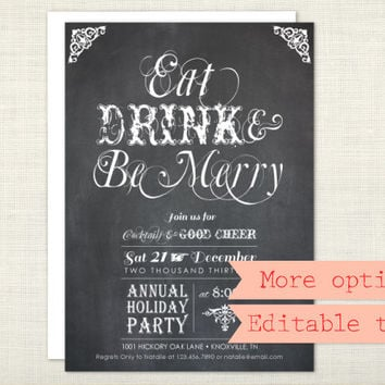 PREMIUM - Christmas Party Invitation, Eat Drink and Be Merry, Holiday Party, Chalkboard, Red, Green - digital file, printable