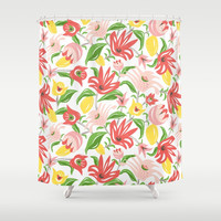 Island Garden Floral Shower Curtain by heatherduttonhangtightstudio