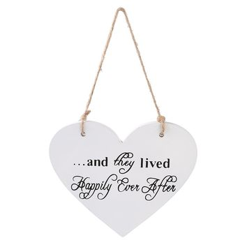 White Heart Hanging Plaque Vintage Wedding Ceremony Sign