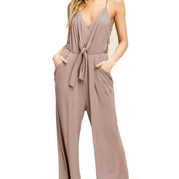 Women Strap Front Tie Jumpsuit with Pockets
