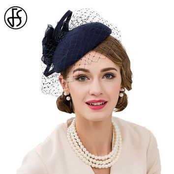 FS 100% Wool Fedora Hat Fascinators For Women Elegant Blue Wedding Dress Tea Party Pillbox Hats For Female
