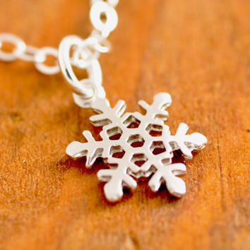 Silver Snowflake Necklace - holidays, Christmas necklace, snowflake pendant, winter necklace, christmas jewelry