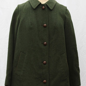 Vintage Loden Alpaca Wool Coat, Tyroler Adler / Tyrolean Eagle, Tyrol / Tirol, Austria, size small-medium