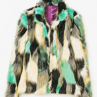Multi Faux Fur Open Jacket