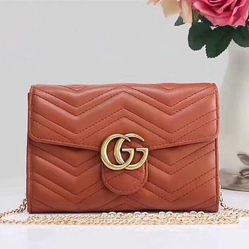 Gucci Women Shopping Bag Leather Chain Crossbody Shoulder Bag Satchel