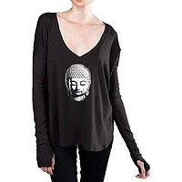 Womens Buddha Profile V-Neck Tee Shirt - Little Buddha Head
