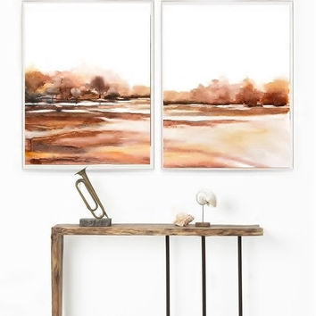 BOGO Duo Set Landscape Abstract Watercolor Painting Print, Farm Art Landscape Wall Art, Farmland Painting, Brown Rust Earthtone Color,Nature