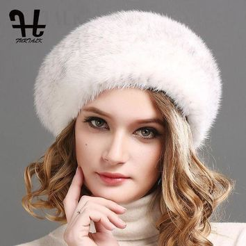 VONE7Y2 FURTALK 100% natural mink fur hat women winter fur hats mink fur beret for women