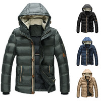 Hooded Zip Up and Front Buttoned Padded Jacket