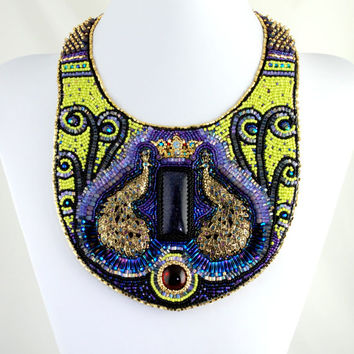 Guardians of My Dreams - Beautiful Statement Necklace, Bead Embroidered, Beaded Bib Necklace, Peacock Necklace, Purple Yellow and Blue