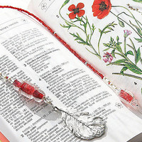 Beaded Bookmark.  Elegant Silver Feather Pendant. Red Art Glass Beads, Miniature Pearls. Gift for Book Lover.  TAGT