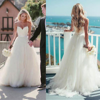 Spaghetti Straps Beach Wedding Dress Country Bridal Dress Gown Size 0 2 4 6 8 10