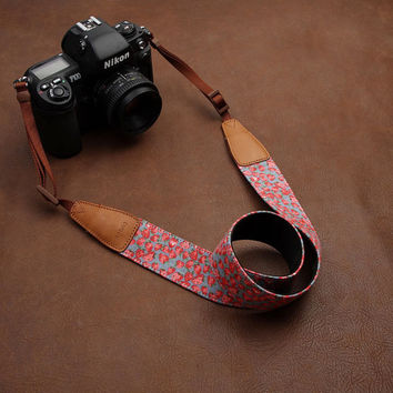 Cowboy Strawberry Flower Handmade Leather Camera Strap Brown 7121